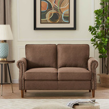 Linen Fabric Sofa Sectional Double Chaise Longue Modern Large Brown Velv... - $408.63