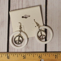 New old stock white peace sign drop dangle earrings silver tone - $7.91
