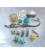Beach Bead Mix Lot Blue Turquoise Starfish Mermaid Bookmark Kit Jewelry ... - $5.00