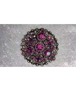 Purple passion gold tone vintage pin brooch rhinestones filigree different - $15.00
