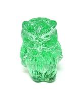 """Crystal Friends"" Miniature OWL Green Hand Blown Glass MID CENTURY - $6.44"