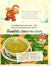 Vintage 1951 Campbell's soup kid winter pea soup advertisement print ad ... - $12.68