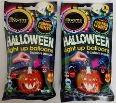 Lot of 10 (2 Packs of 5) illooms LED Balloons Halloween Light Up Pumpkin... - $11.87