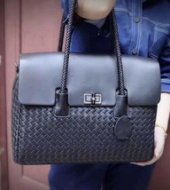 New Woven Italian Leather Black Luxury Sheepskin Briefcase Laptop Bag Ha... - $207.85