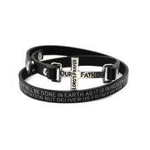 Inspired Silver The Lord's Prayer Engraved Cross Wrap Black Inspirationa... - $593,31 MXN