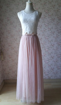 Sleeveless Crop Lace Long Tulle Skirt Pink Rustic Bridesmaid Dresses Plus Size image 3