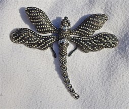 Large Vintage Runway Japaned Silver-Plated Rhinestone Ciner Dragonfly Br... - $390.43