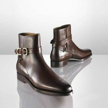 Handmade Men's Brown High Ankle Jodhpurs Monk Strap Leather Boots image 4