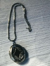 Estate Monet Marked Silvertone Chain w Large Ornate Oval Locket Pendant Necklace - $10.39