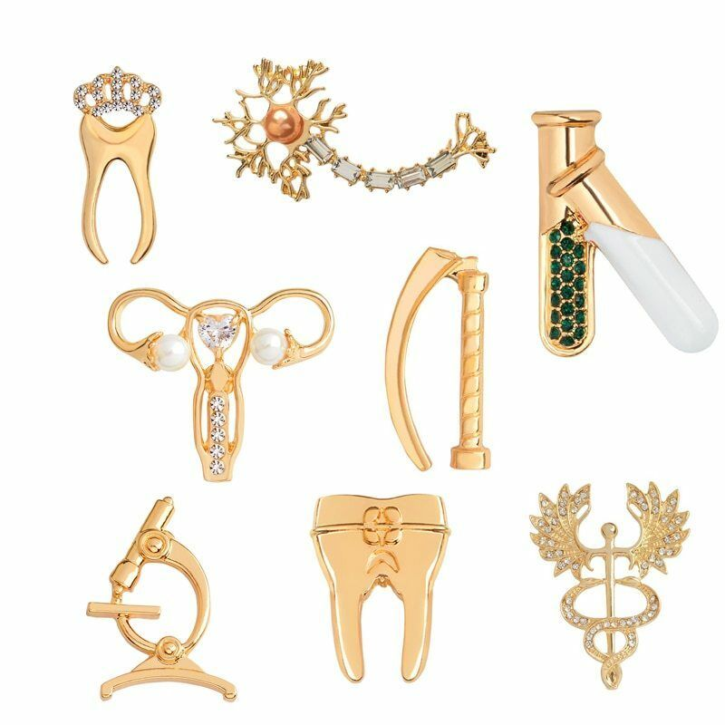 Primary image for Medical Brooch Pin Tooth Microscope Laryngoscope TestTubes Neuron Cudaceus Badge
