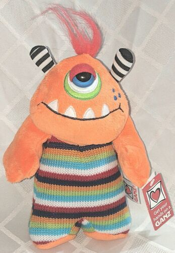 GANZ H12596 Orange One Eyed  KnitWit Monster Multi Colored 10 Inch 3 Plus age