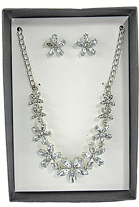 Primary image for K&M Designs Costume Jewelry Cubic Zirconia Flowers Necklace & Stud Earrings Set
