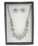 K&M Designs Costume Jewelry Cubic Zirconia Flowers Necklace & Stud Earri... - $11.83