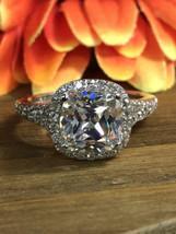 Certified 3.15Ct Cushion Cut White Diamond Engagement Ring in 14k White ... - €257,21 EUR