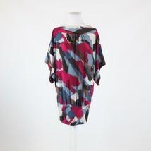 Brown pink blue geometric stretch BCBG MAX AZRIA short kimono sleeve blo... - $29.99