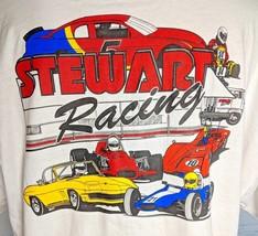 Vintage Stewart Racing T-Shirt Dead Stock 2XL White T-Shirt Usa Mens - $29.60