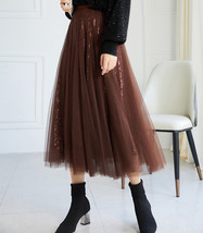 Wine Red Long Tulle Sequin Skirt High Waisted Red Christmas Holiday Skirt Outfit image 7