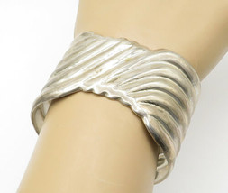 MEXICO 925 Sterling Silver - Vintage Fluted Design Wide Cuff Bracelet - ... - $143.09