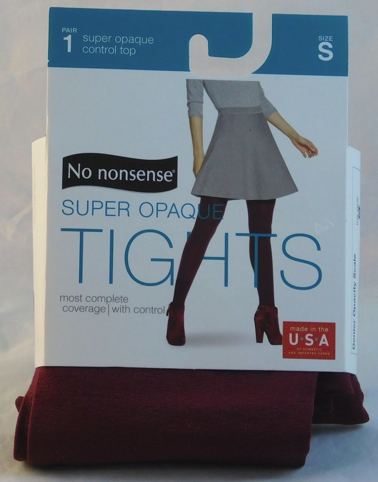 No Nonsense Tights Super Opaque Control Top Carmine Color Size S 90 Opacity NEW