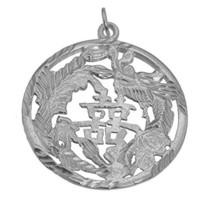 Dragon & Phoenix Perfect Couple Feng Shui Yin Yang Sterling Silver Charm... - $66.35
