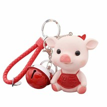 Pig Keychain Cartoon Bell Luck Pendant Car Key Ring Holder Bag Decor Dur... - $8.05