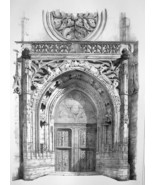 FRANCE Compiegne Portal of Saint Anthony Church - SUPERB 1843 Antique Print - $18.00
