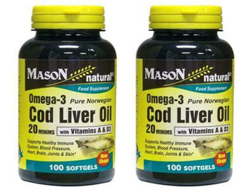 2 X 100 = 200 SOFTGELS Norwegian COD LIVER OIL 1000 mg W/ VITAMINS A & D OMEGA 3 image 3