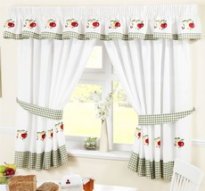 "Apples & Pears Green Red Gingham Kitchen Curtains 66X48""(117X122CM) Inc Tiebacks - $29.77"
