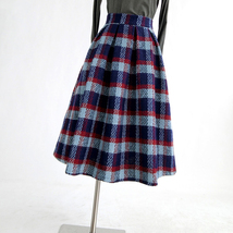 RED PLAID Women Midi Skirt Autumn Classic Plus Size Flannel Long Plaid Skirts image 9