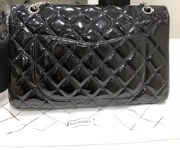 AUTHENTIC CHANEL REISSUE 227 BLACK PATENT LEATHER JUMBO CLASSIC FLAP BAG SHW image 3