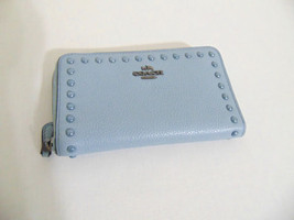 Coach Light Blue Pebbled Leather Phone Case Zip Around Wallet AP302 $165 - $75.83