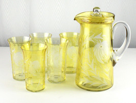 Tiffin Lemon Stain Floral Cut to Clear Covered 127 Pitcher & Ice Tea Set... - $254.30