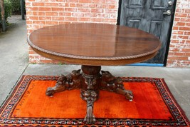French Antique Oak Renaissance Hunt Scene Oval Dining Room Table With Leaf - $3,220.00