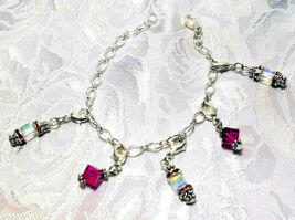 Silver Bracelet Metal Chain Crystal and Charm Dangles - You Choose image 8