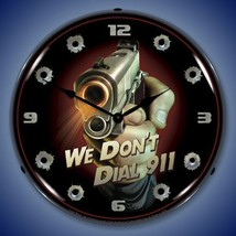 New Big Gun We Don't Dial 911 LIGHT UP  clock with bullet hole numbers U... - $129.95