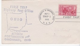 FIRST TRIP H.P.O. PORTSMOUTH & CINCINNATI OHIO JULY 1 1952 TRIP 1 - $1.98
