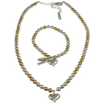 Gold and silver colour heart charm bracelet with matching bead choker necklace - $12.14