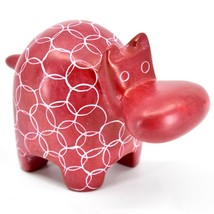 Vaneal Gourp Hand Crafted Carved Kisii Soapstone Red Hippopotamus Hippo Figurine image 1