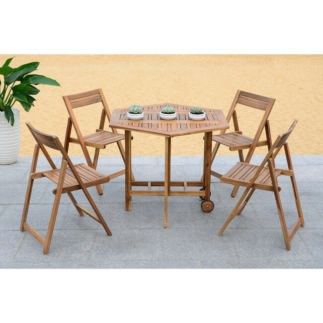 Outdoor Dining Table 5 Piece Set Acacia Wood Patio Furniture Brown Chair Modern