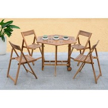 Outdoor Dining Table 5 Piece Set Acacia Wood Patio Furniture Brown Chair... - $360.85