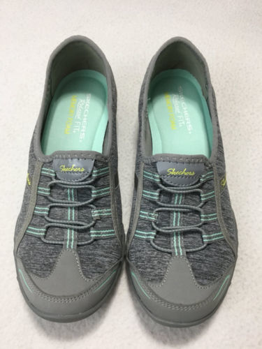 Skechers Womens 6.5 Relaxed Fit Breathe Easy Good Life Sneakers Shoes Gray Mint image 2
