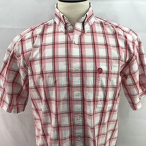 George Strait Wrangler Red White Button Up Large Short Sleeve Western Shirt - $14.50
