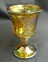 Vintage Indiana MARIGOLD Carnival Glass Stemmed HARVEST GRAPE Goblet - $19.57