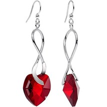 Body Candy Handcrafted Silver Plated Deep Red Heart Earrings Swarovski C... - $28.98