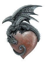 12 Inch Medieval Dragon on Large Heart Resin Statue Figurine - $49.49