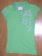 Women's Shirt Sz S Aeropostale A 87 Logo Polo Capped Sleeves Cotton Lime... - $14.39