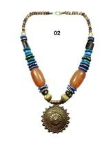 Tibetan Banjara Necklace Amber Beaded Resin Gypsy India Tribal  Ethnic J... - $17.41