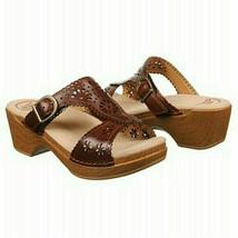 Dansko Sapphire Brown Sandals Wedge Sz 40 US 9.5 10 Eyelet Floral Leathe... - $33.85