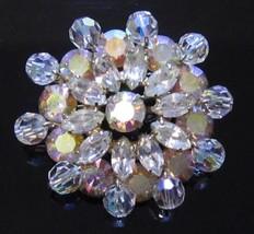 High End Large Ab Rhinestones & Crystal Starburst Vintage Pin Brooch*189D - $43.55