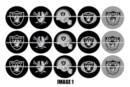 Printed Precut OAKLAND RAIDERS inspired 1 inch images for bottlecaps, craft - $2.00